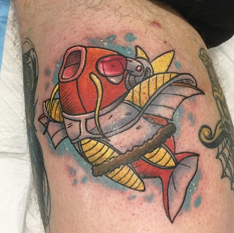 Magikarp and Dragon Ball Z Inspired Tattoo By Vanessa Color Crimson Empire Tattoo - 12.2017