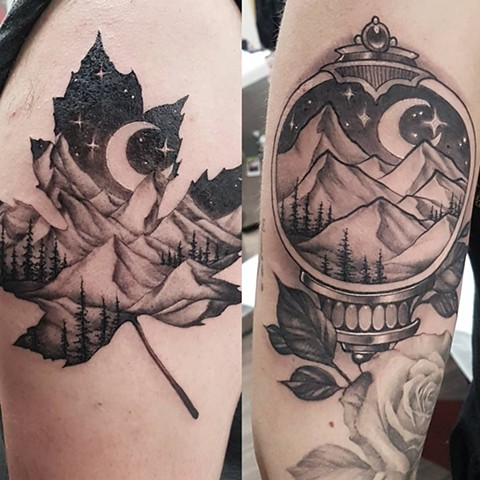 Illustrative Black and Grey Landscape Tattoo