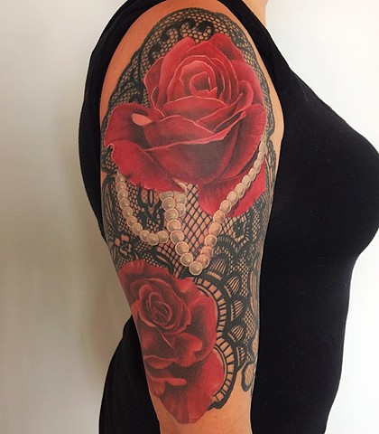 Roses with Lace Color 1/2 Sleeve Tattoo