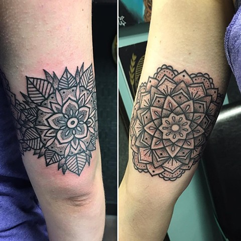 Mandala Tattoo By Cheyanne Pointillism Black and Grey Crimson Empire Tattoo - 06.2017