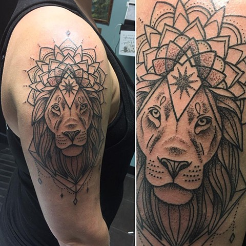 Lion and Mandala Tattoo By Cheyanne Pointillism Black and Grey Crimson Empire Tattoo - 08.2017