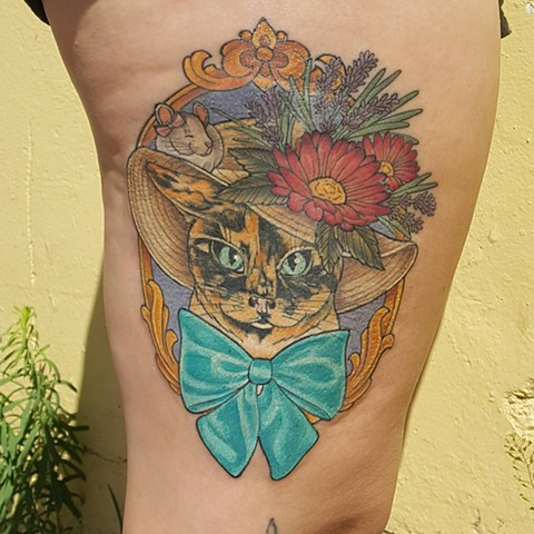 Cat in a Hat w/ Flowers and a Frame Tattoo By Sheila Color Crimson Empire Tattoo - 05.2017