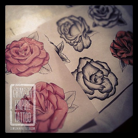 Rose sketches by Jessica Doyle