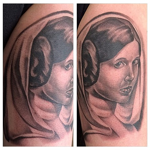 Princess Leia Black and Grey Tattoo