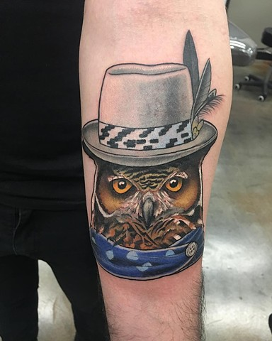 Tragically Hip Inspired Owl Tattoo By Curt Color Crimson Empire Tattoo - 12.2017