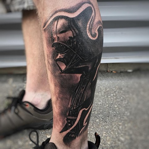 Black and Grey Darth Vader Tattoo