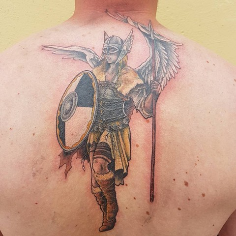 Nordic Warrior w/ Wings Tattoo By Kevin Color Crimson Empire Tattoo - 06.2017