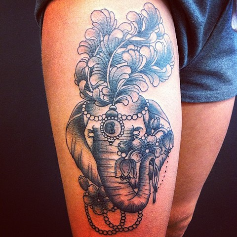 Elephant on thigh by Sydney Dyer