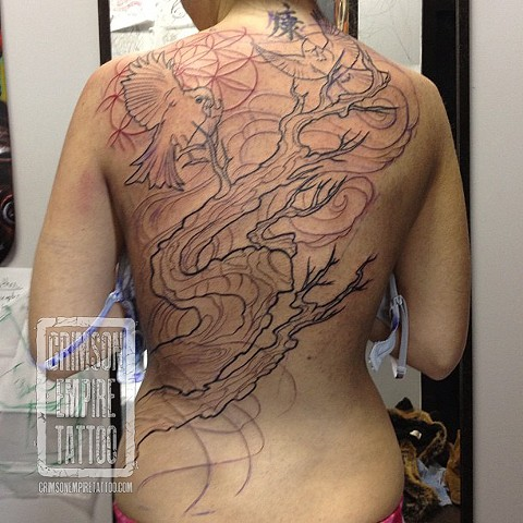 Birds and tree on back by Josh Lamoureux