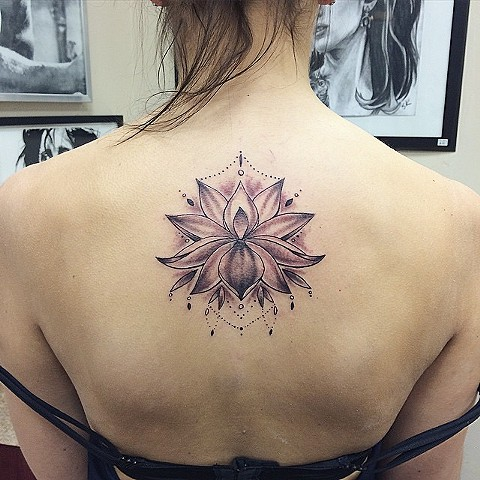 Lotus Flower Black and Grey Tattoo