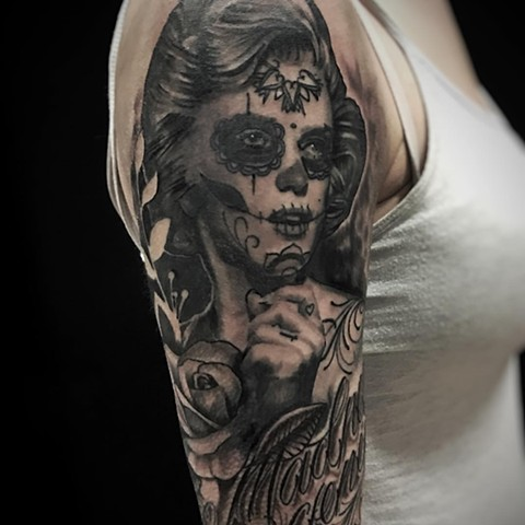 Black and Grey Sugar Skull Lady Tattoo