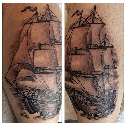 Ship Tattoo By Chad Black and Grey Crimson Empire Tattoo - 08.2017