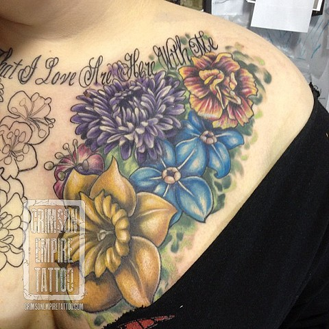 Flowers on shoulder by Josh Lamoreux. Follow Josh @joshlamoureux