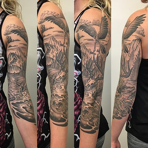 Animal Skeleton Tattoo By Dale Moostoos Black And Grey Crimson Empire Tattoo