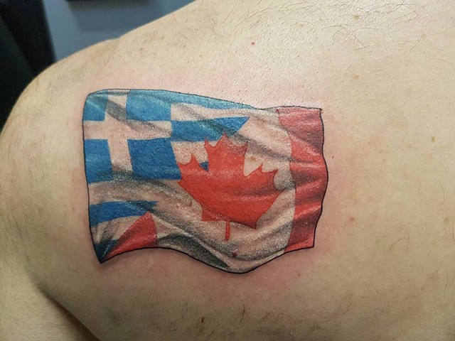 Greek and Canadian Flag Fusion Tattoo By Kevin Color Crimson Empire Tattoo - 09.2017