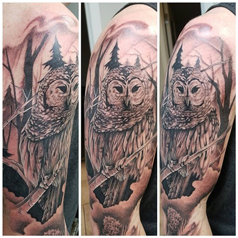 Owl Tattoo By Kevin Black and Grey Crimson Empire Tattoo - 01.2017