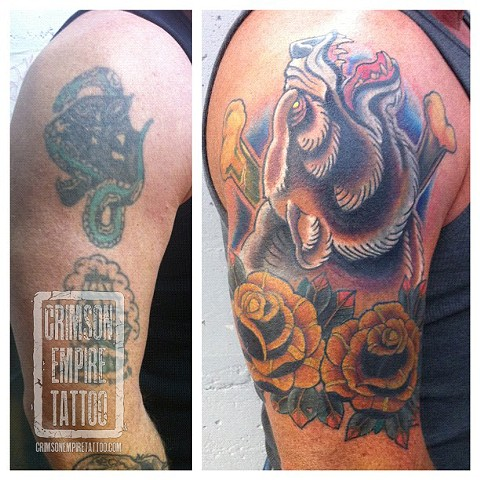 Bear and rose coverup on bicep by Curt Semeniuk