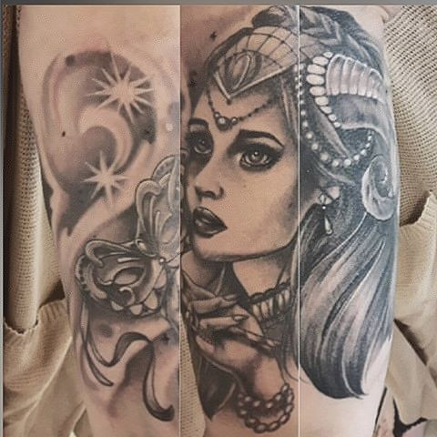 Masquerade Girl Black and Grey Tattoo