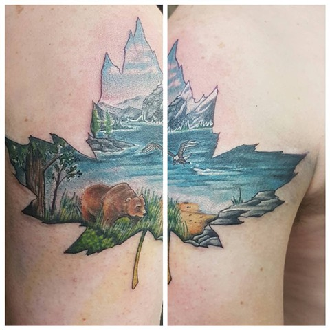Nature Scene Inside a Maple Leaf Tattoo By Kevin Color Crimson Empire Tattoo - 03.2017