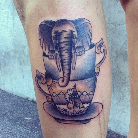 Elephant in teacups by Sydney Dyer