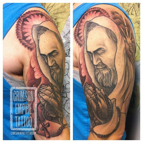 Praying Man Bicep Sleeve by Jared Phair