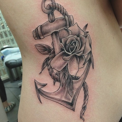 Anchor and Rose Black and Grey Tattoo