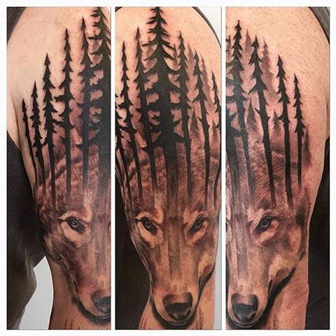 Wolf w/ Trees Tattoo By Chad Black and Grey Crimson Empire Tattoo - 01.2017