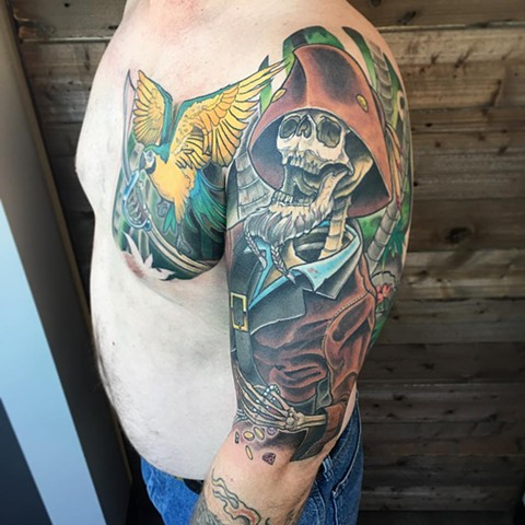 Pirate 1/2 Sleeve Color Tattoo