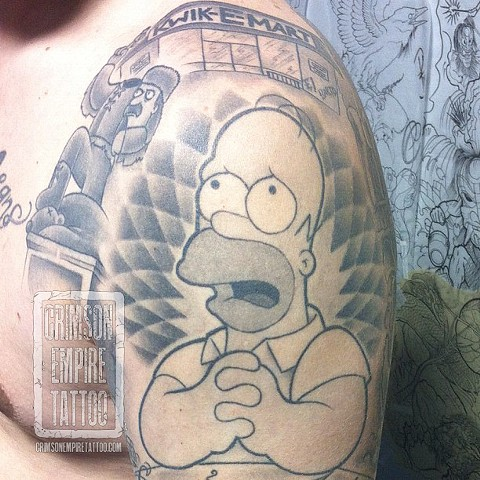 Homer on bicep by Jared Phair. Follow Jared @jroctizzle