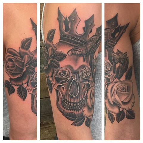 Roses, Skull, and Crown Tattoo By Dale Black and Grey Crimson Empire Tattoo - 05.2017