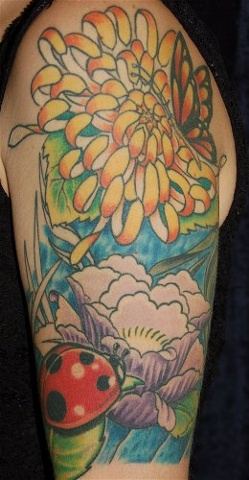 Lady Bug chrysanthemum tattoo