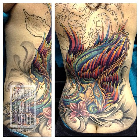 Lotus flower on back by Josh Lamoreux. Follow Josh @joshlamoureux