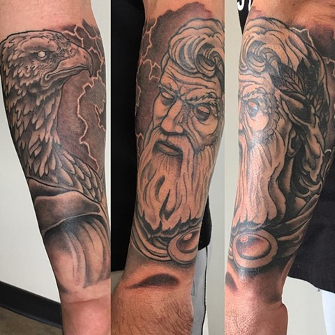Zeus And Eagle Tattoo By Curt Semeniuk Black And Grey Crimson Empire Tattoo