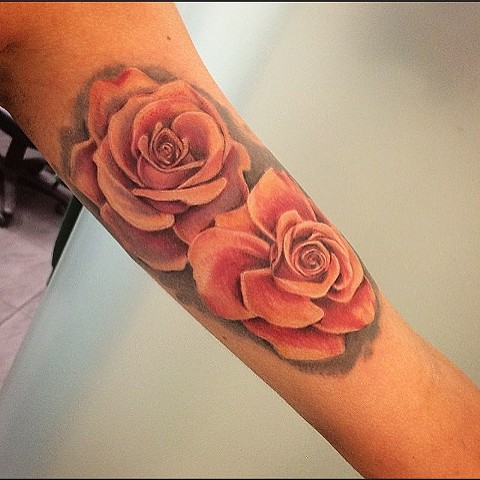 Roses Pastel Color Tattoo