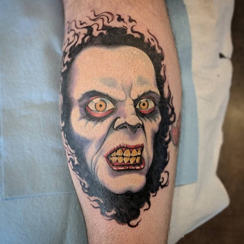the Exorcist Inspired Captain Howdy Tattoo By Landon Color Crimson Empire Tattoo - 02.2018