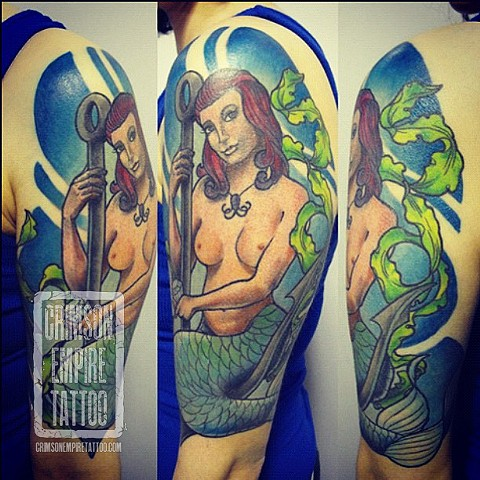 Mermaid on Bicep by Chad Clothier