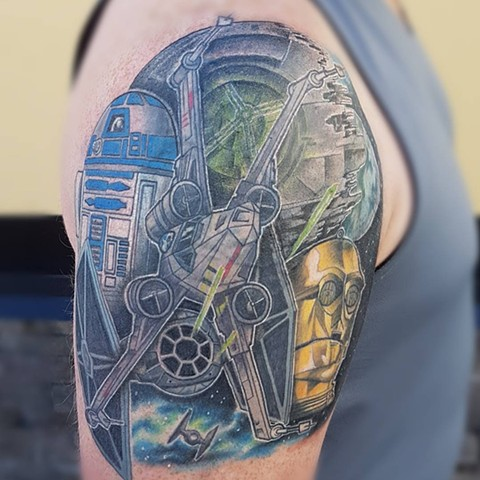 Full colour Stars Wars tattoo
