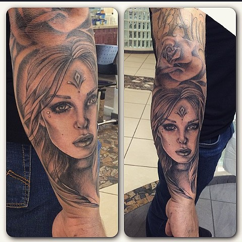 Women's Face Black and Grey Tattoo