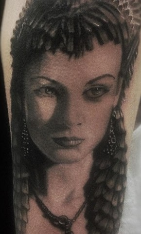 Black and Grey Woman Tattoo