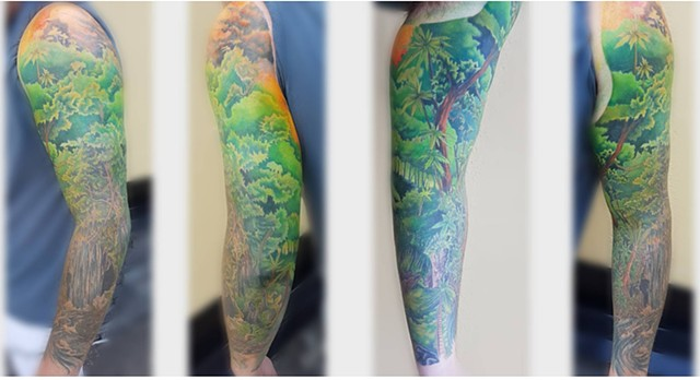 Tropical Nature Inspired Tattoo By Kevin Color Crimson Empire Tattoo - 08.2017