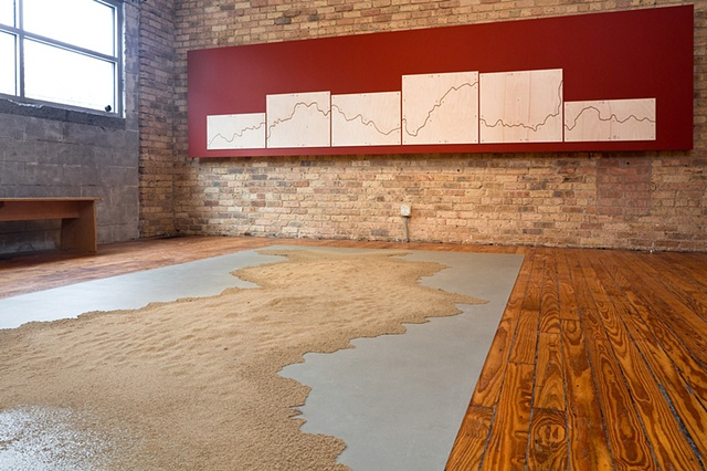 Oxbow water-line Project at Experimental Sound Studio, Chicago, IL March 20 - May 8, 2011 ESS-sand drawing #4