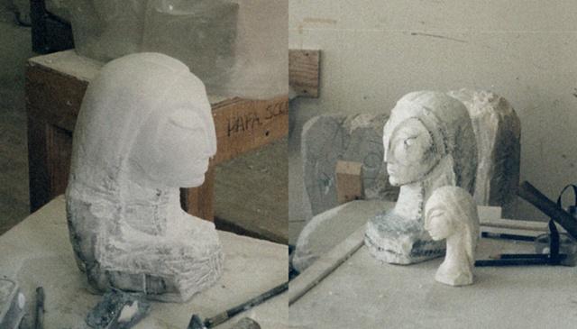 White Stone sculpture and plaster maquette sculpture