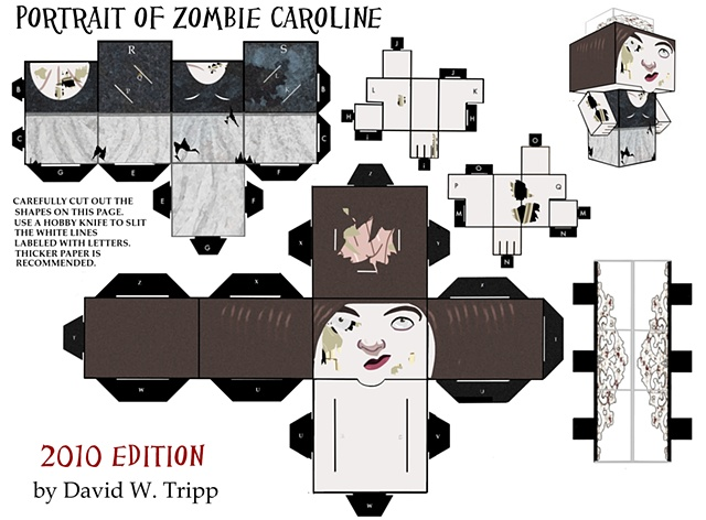 Portrait of Zombie Caroline Papercraft Kit