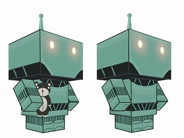 The Tedybear Gatherer papercraft kit: both versions