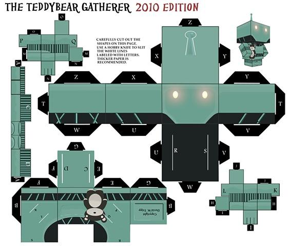 The Teddybear Gatherer Papercraft Kit Template (teddybear variant)