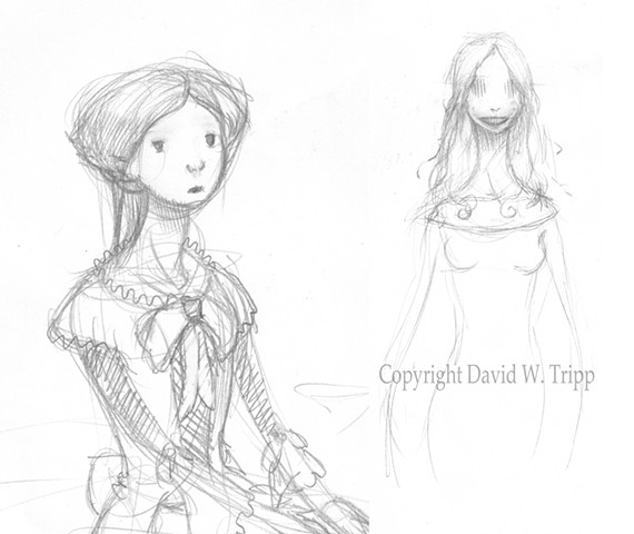 Carmilla rough character designs.