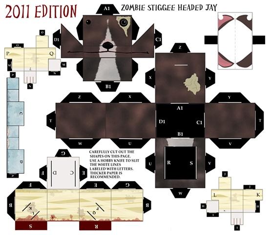 Zombie Stiggee Headed Jay Papercraft kit