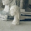White Stone sculpture and plaster maquette sculpture