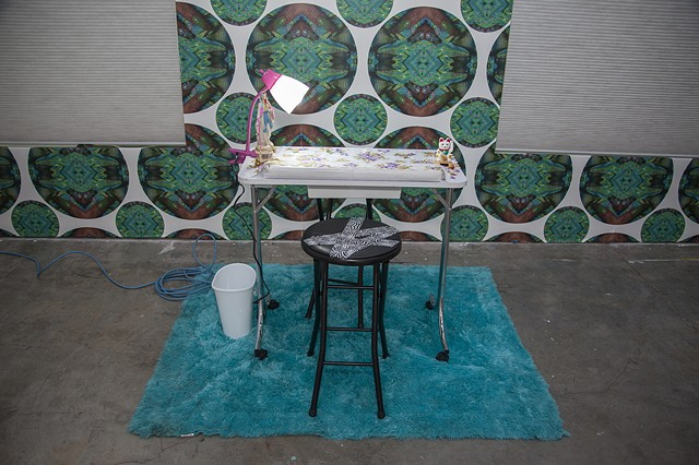 "installation of site specific wallpaper for ""Aesthetic Theory."""