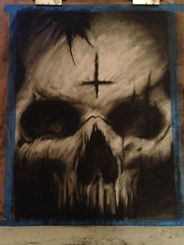 Charcoal Skull inverted cross